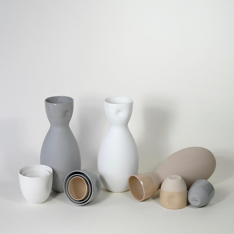Chinese Dimpled Porcelain Carafe in Matte Latté For Sale