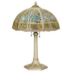 Antique Arts & Crafts Miller Overlay Landscape Slag Glass Lamp, Circa 1920