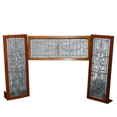 DIMS Antique Set of Arts & Crafts Jeweled & Leaded Glass Windows, Circa 1900
