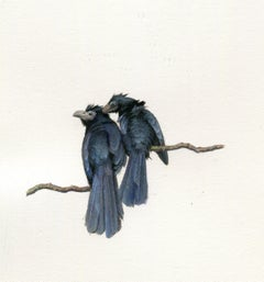 Dina Brodsky, Two Black Birds, Realist gouache on paper miniature, 2018