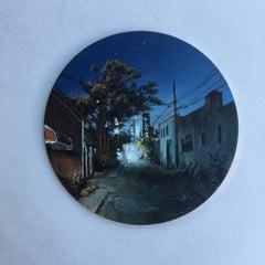 Dina Brodsky, Back Alley, Dusk, realist oil on copper miniature tondo, 2018