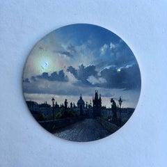 Dina Brodsky, Cityscape, Morning, realist oil on copper miniature tondo, 2018