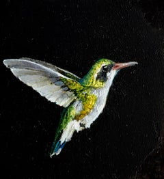 Dina Brodsky, Hummingbird, realist oil on mylar animal miniature, 2018