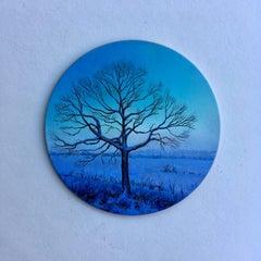 Dina Brodsky, Tree, Blue Winter, realist oil on copper miniature tondo, 2018