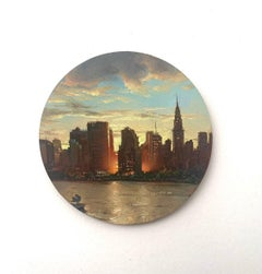 New York 1, oil on copper miniature cityscape painting