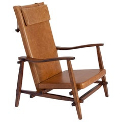 Dinablue Brazilian Contemporary Wood and Leather Easychair by Lattoog