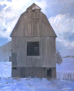 A Quiet Winter (weathered barns, luminous snow, shadows, moody sky, lilac, tan)
