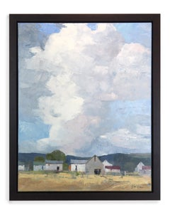 Waiting for the Clouds (oil on linen, landscape, sky, clouds, barns, still life)