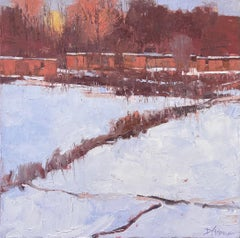 """Warm Light on Snow,"" Oil Painting"