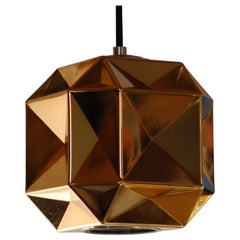 Dinamo Pendant Multi-Faceted Blown Glass with Gold Mirrored Translucent Set of 4