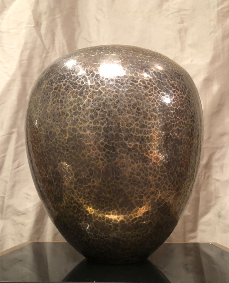 Dinanderie Hammered Silver and Brass Vase / Cachepot by Christofle, France In Good Condition For Sale In Jersey City, NJ