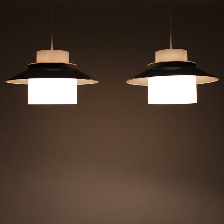 Scandinavian Modern Dinette Pair of Gray and White Ceiling Lamps by Bent Karlby in 1970 for Lyfa