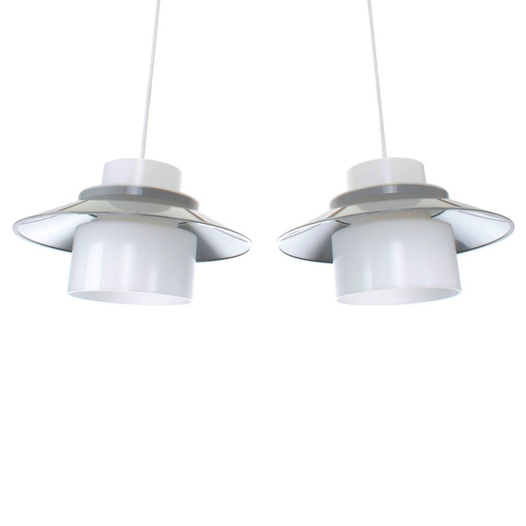 Danish Dinette Pair of Gray and White Ceiling Lamps by Bent Karlby in 1970 for Lyfa