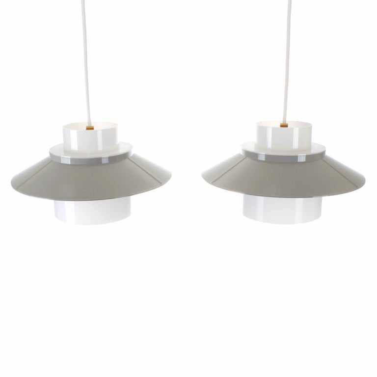 Dinette Pair of Gray and White Ceiling Lamps by Bent Karlby in 1970 for Lyfa In Good Condition In Brondby, Copenhagen