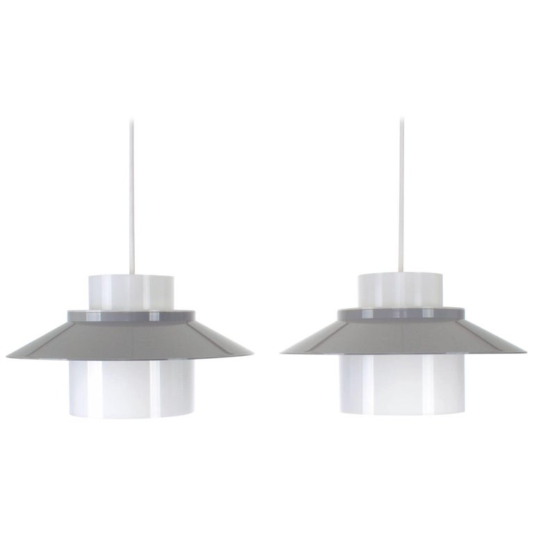 Dinette Pair of Gray and White Ceiling Lamps by Bent Karlby in 1970 for Lyfa