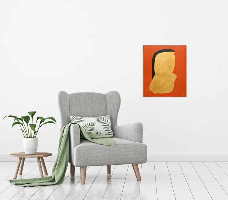 Thinking, Dinh Hanh Lacquer on Wood Painting of a Nude Woman on Red Background 1