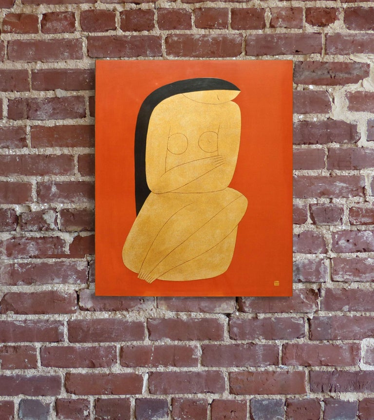 Thinking, Dinh Hanh Lacquer on Wood Painting of a Nude Woman on Red Background 2