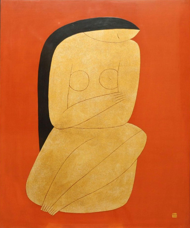 Thinking, Dinh Hanh Lacquer on Wood Painting of a Nude Woman on Red Background 3