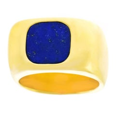 Dinh Van for Cartier Lapis Set Gold Ring