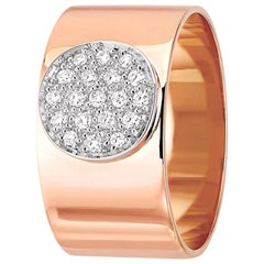 Dinh Van Modern Rose Gold Band Ring with Diamonds from Anthea Collection