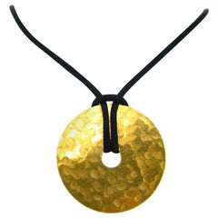 Dinh Van Pi Disc Yellow Gold Pendant Cord Necklace, French