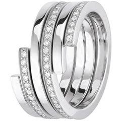 Dinh Van Spiral Rings 18 Karat White/Pink Gold & Diamonds, Set of 3 'Price of 2'
