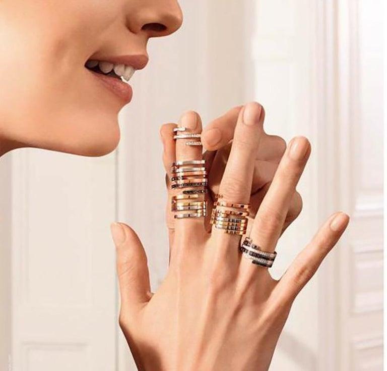 Modern Dinh Van Spirale Rings, 18 Karat White Gold and Diamonds, Set of 3 'Price of 2' For Sale