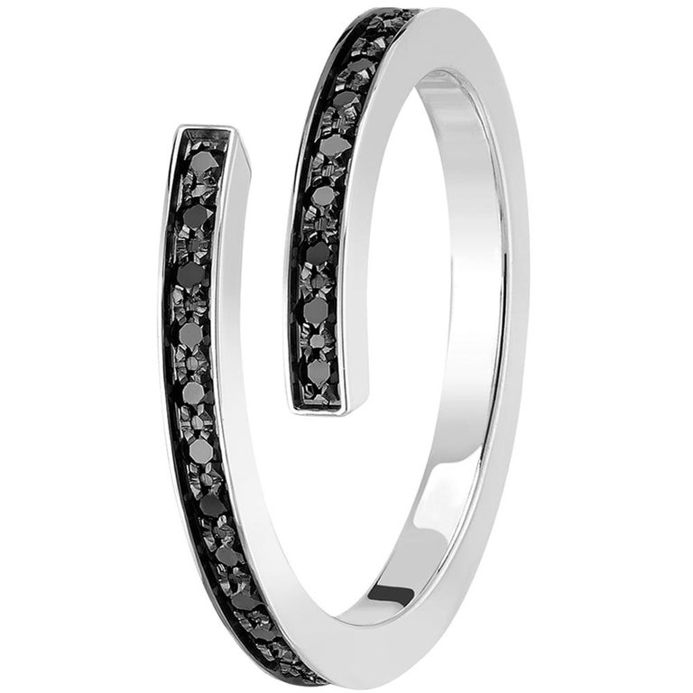 Round Cut Dinh Van Spirale Rings, 18 Karat White Gold and Diamonds, Set of 3 'Price of 2' For Sale