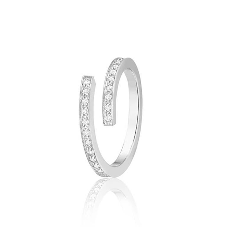 Dinh Van Spirale Rings, 18 Karat White Gold and Diamonds, Set of 3 'Price of 2' In New Condition For Sale In Amsterdam, NL