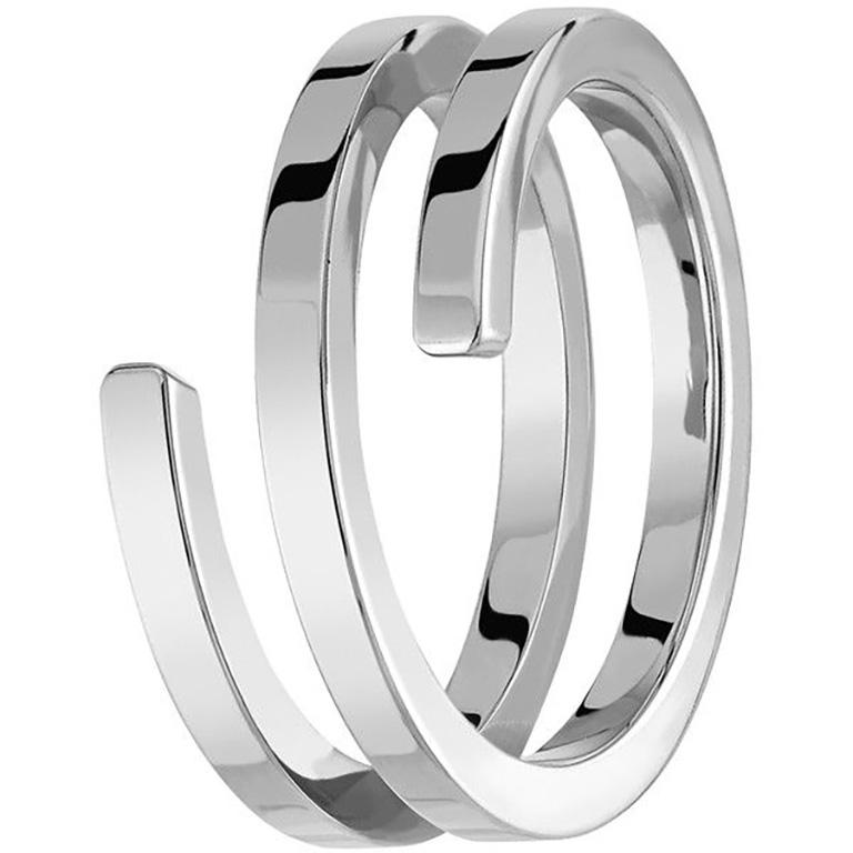 Women's or Men's Dinh Van Spirale Rings, 18 Karat White Gold and Diamonds, Set of 3 'Price of 2' For Sale