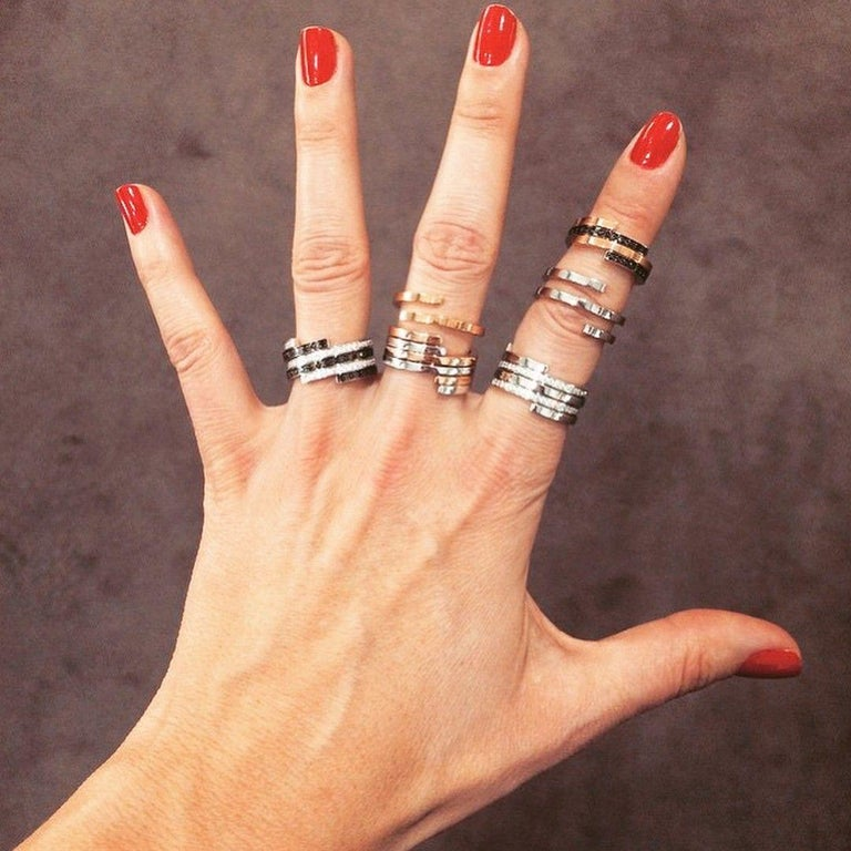 Dinh Van Spirale Rings, 18 Karat White Gold and Diamonds, Set of 3 'Price of 2' For Sale 2