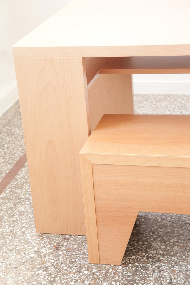 Minimalist Dining and Working Table with Hidden Self For Sale