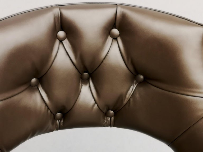 Dining Armchair, Tufted Fiore Italian Leather, Midcentury Style, Luxury Details For Sale 3