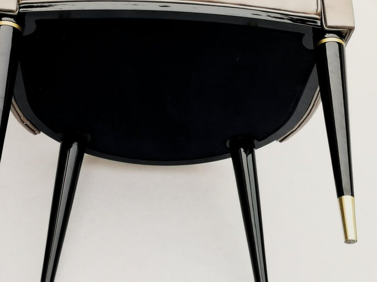 Dining Armchair, Tufted Fiore Italian Leather, Midcentury Style, Luxury Details For Sale 4