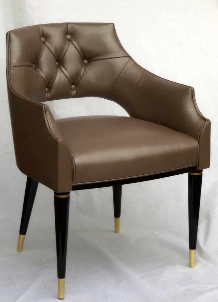Dining Armchair, Tufted Fiore Italian Leather, Midcentury Style, Luxury Details For Sale 5