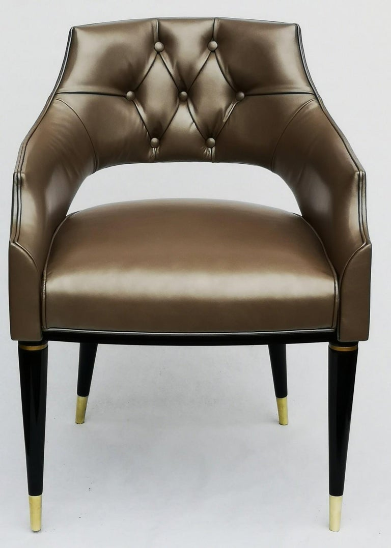 Dining Armchair, Tufted Fiore Italian Leather, Midcentury Style, Luxury Details For Sale 7