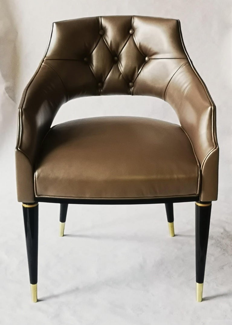 Dining Armchair, Tufted Fiore Italian Leather, Midcentury Style, Luxury Details For Sale 8