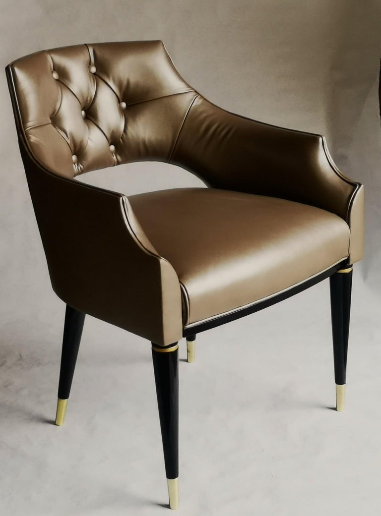Dining Armchair, Tufted Fiore Italian Leather, Midcentury Style, Luxury Details For Sale 9