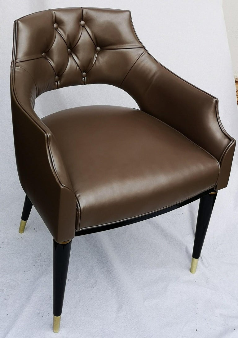Dining Armchair, Tufted Fiore Italian Leather, Midcentury Style, Luxury Details For Sale 10