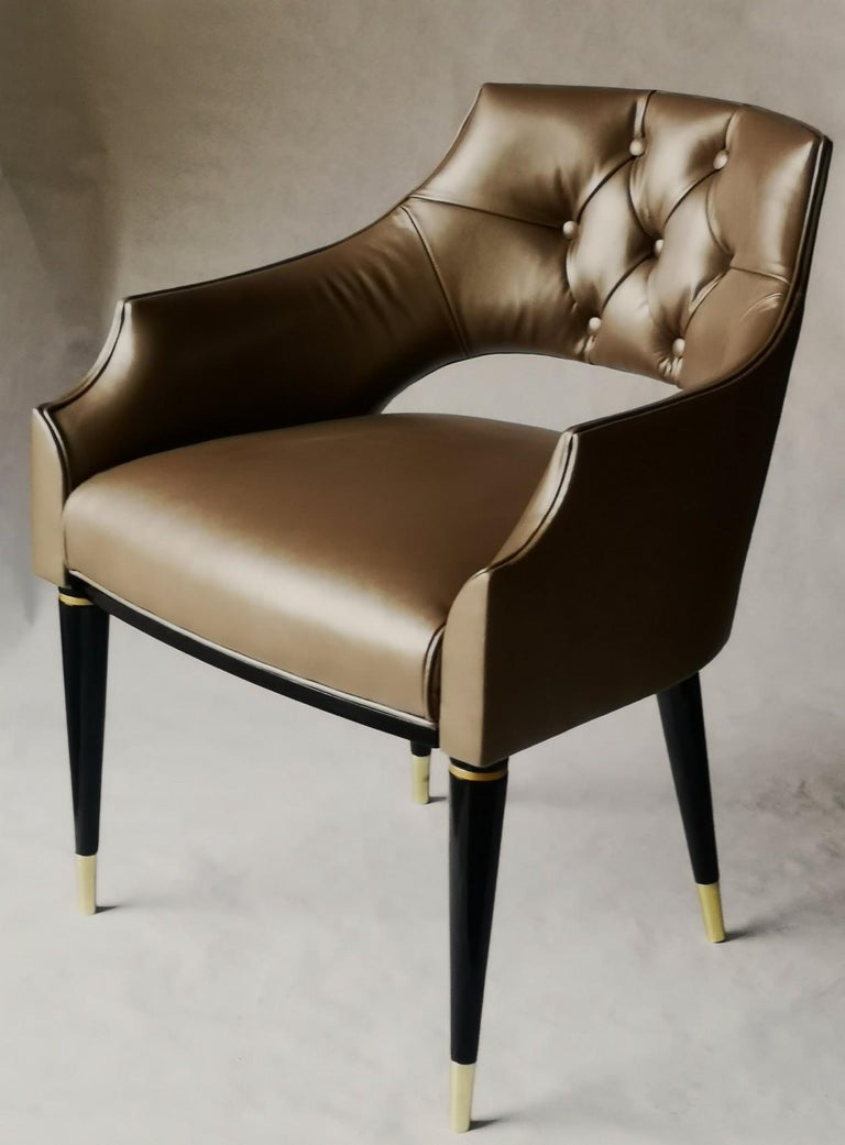 Dining Armchair, Tufted Fiore Italian Leather, Midcentury Style, Luxury Details For Sale 11