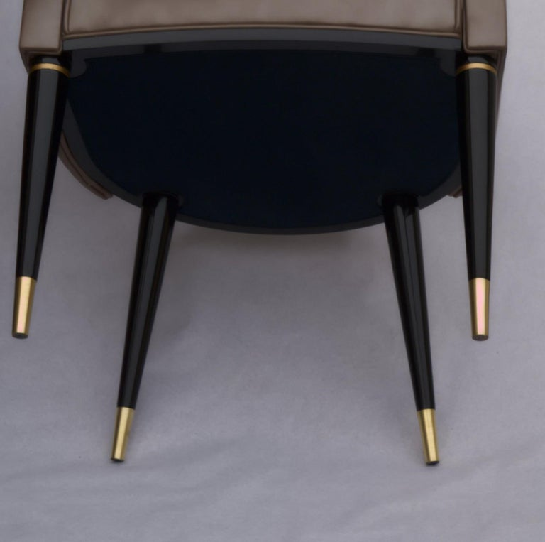 Dining Armchair, Tufted Fiore Italian Leather, Midcentury Style, Luxury Details For Sale 12