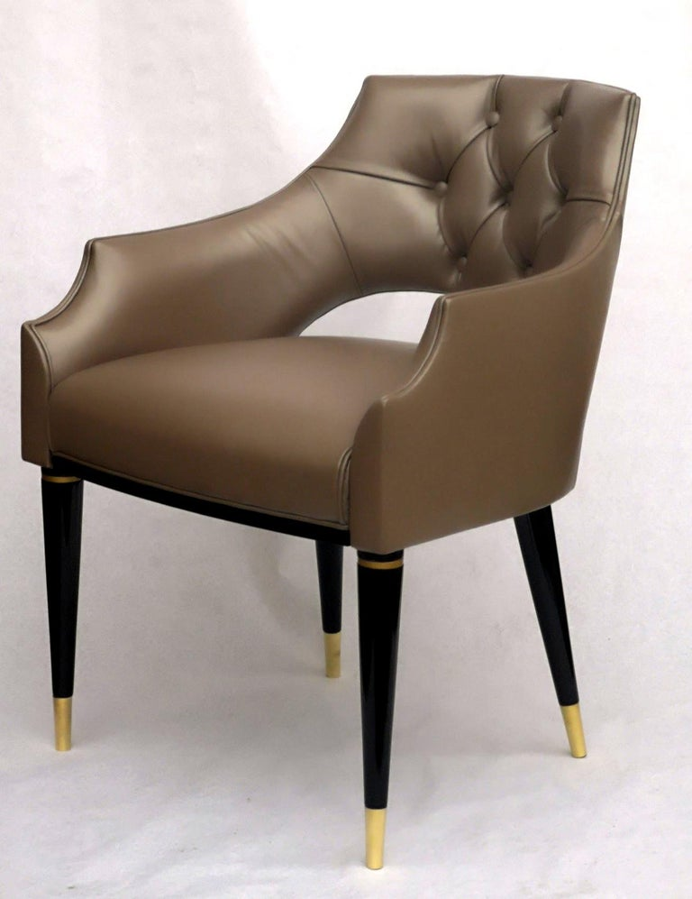 Dining Armchair, Tufted Fiore Italian Leather, Midcentury Style, Luxury Details For Sale 13