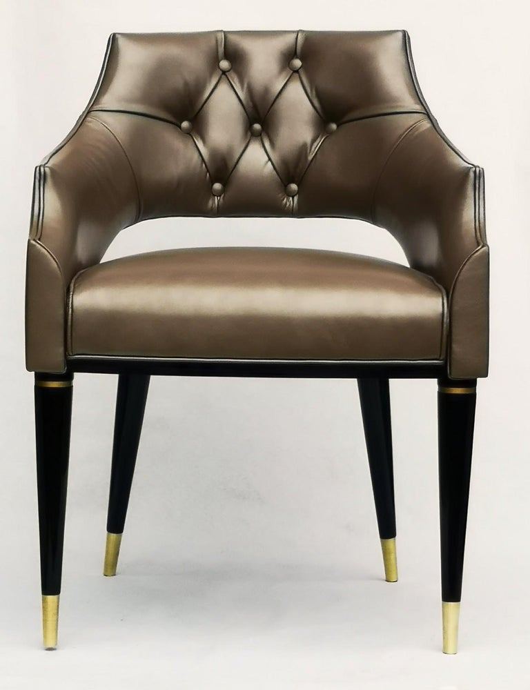 Mid-Century Modern Dining Armchair, Tufted Fiore Italian Leather, Midcentury Style, Luxury Details For Sale