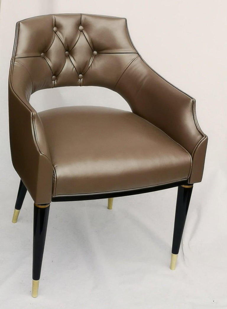 Polished Dining Armchair, Tufted Fiore Italian Leather, Midcentury Style, Luxury Details For Sale