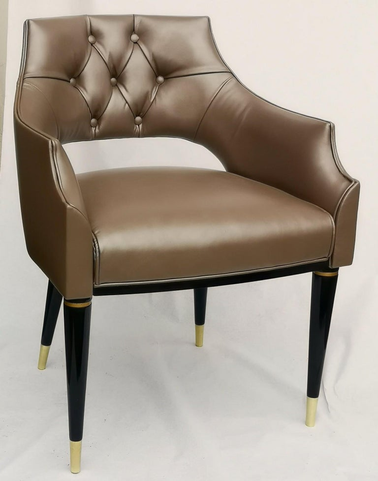 Contemporary Dining Armchair, Tufted Fiore Italian Leather, Midcentury Style, Luxury Details For Sale