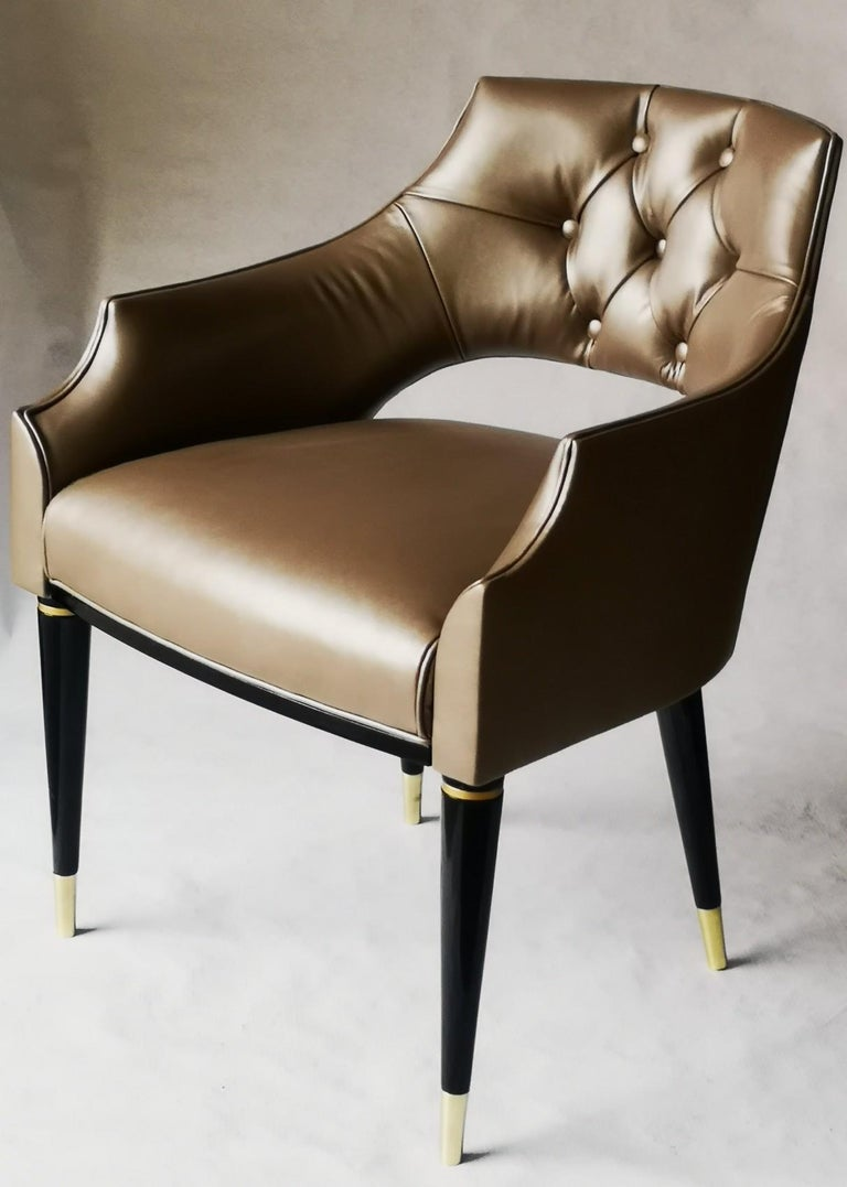 Birch Dining Armchair, Tufted Fiore Italian Leather, Midcentury Style, Luxury Details For Sale