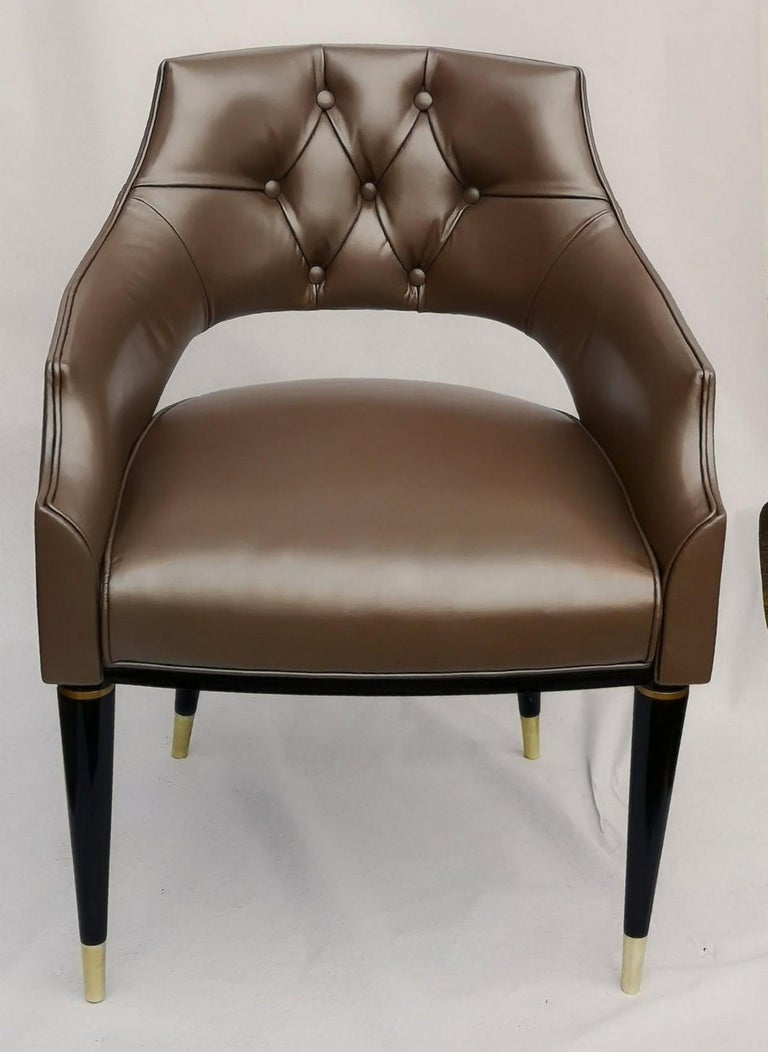 Dining Armchair, Tufted Fiore Italian Leather, Midcentury Style, Luxury Details For Sale 1