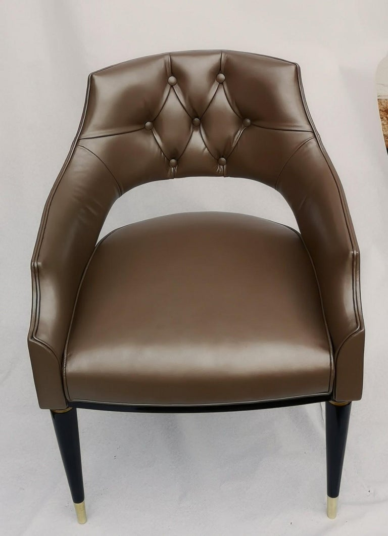 Dining Armchair, Tufted Fiore Italian Leather, Midcentury Style, Luxury Details For Sale 2