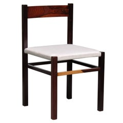 Dining Chair in Jacaranda and Linen by Geraldo de Barros - Brazilian Modern
