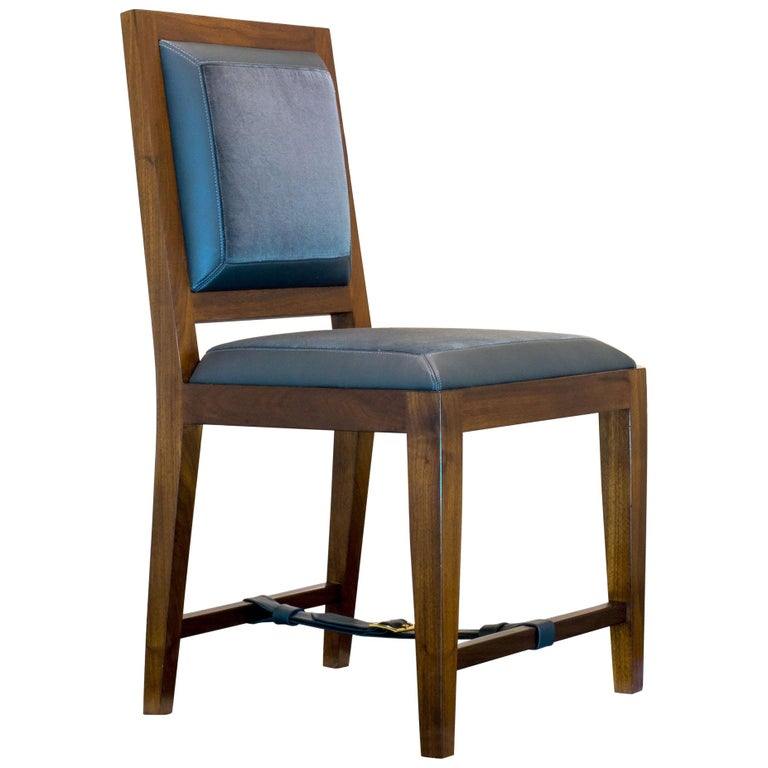 Dining Chair in Solid Walnut with Leather and Fabric Upholstered Seat For Sale